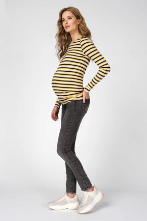 gestreepte zwangerschapslongsleeve geel/zwart/wit