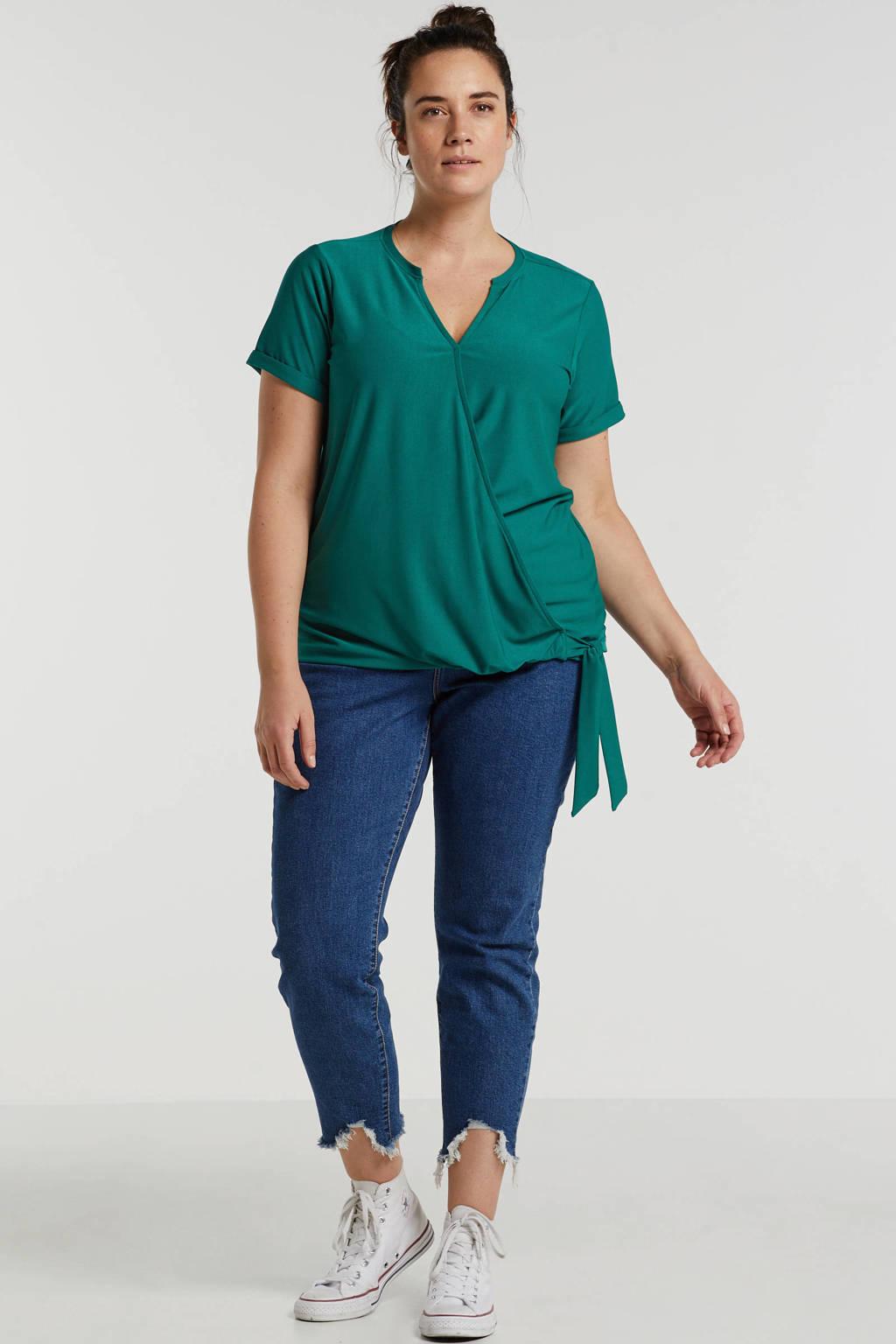 anytime overslag top Plus size groen, Groen