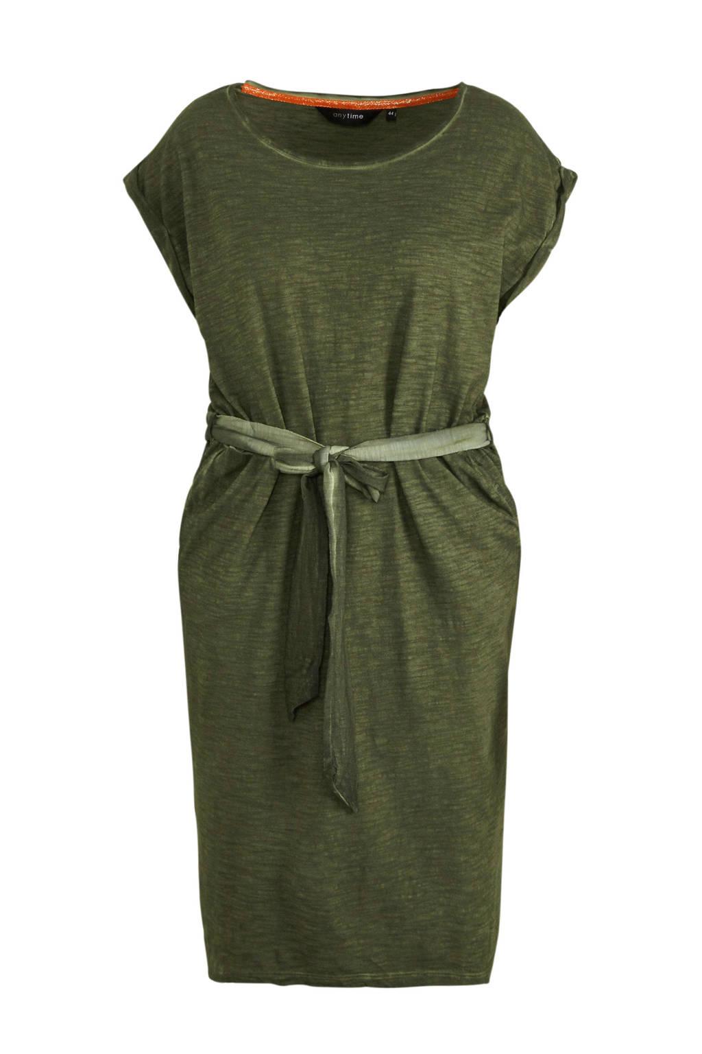 anytime pigment dye jurk Plus size groen, Donkergroen