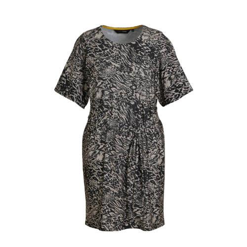 anytime jurk Plus size all-over print zwart/beige