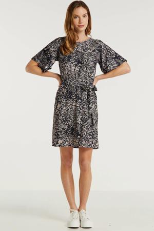 jurk all-over print zwart/beige