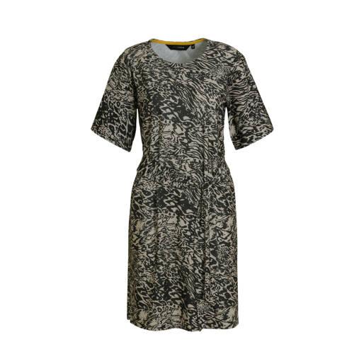anytime jurk all over print zwart beige