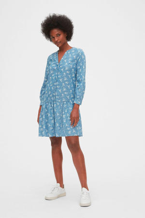 jurk met all over print en plooien lichtblauw