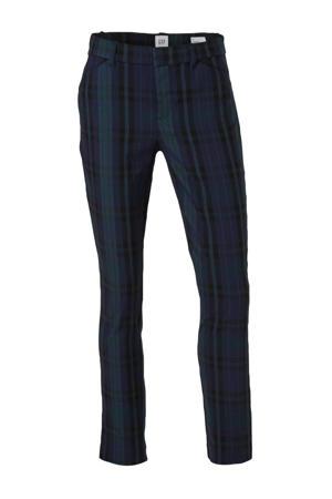 geruite slim fit pantalon zwart/multi