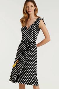 anytime wikkel-look jurk zwart/wit, Zwart/wit