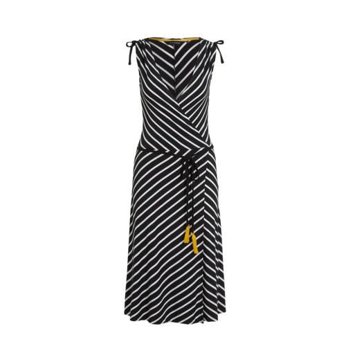 anytime wikkel-look jurk zwart/wit
