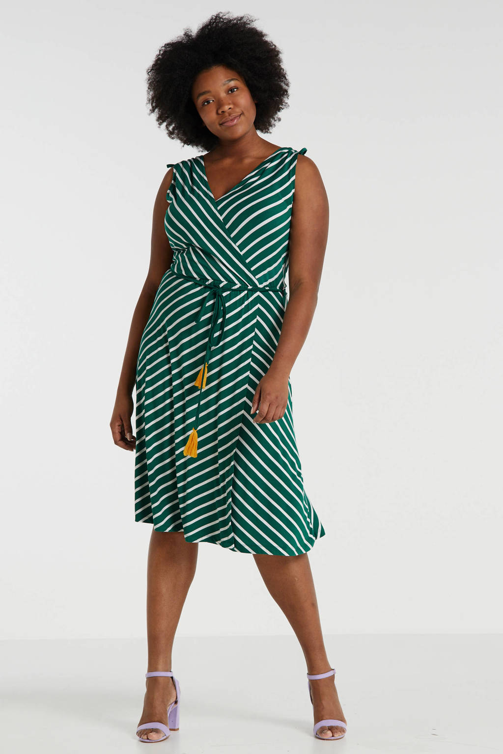 anytime wikkel-look jurk Plus size groen/ecru, Groen/ecru