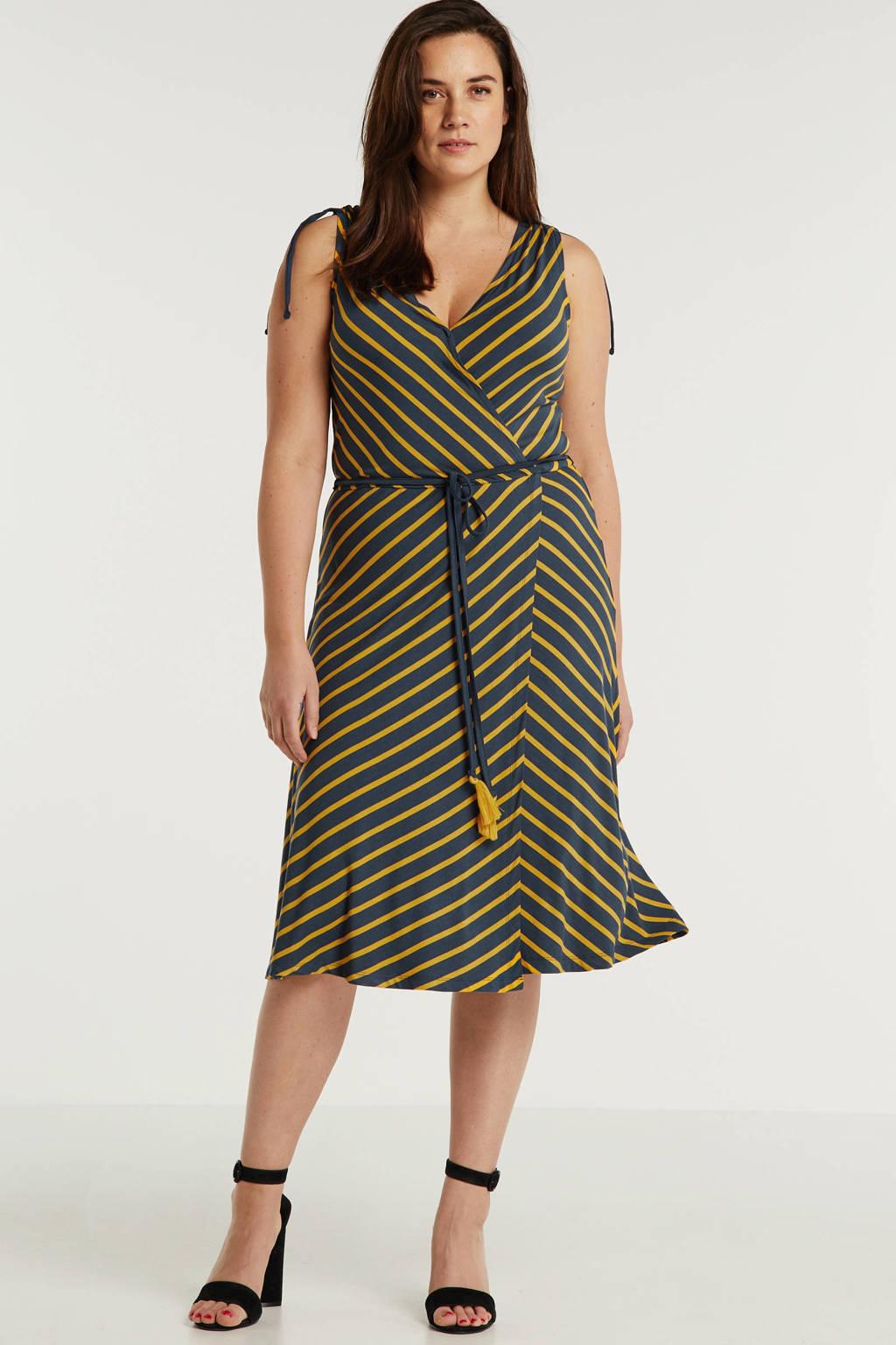 anytime wikkel-look jurk Plus size blauw/okergeel, Blauw/okergeel