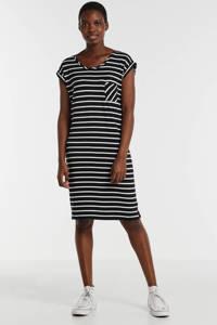 anytime jersey jurk in zwart/ecru streep, Zwart/wit