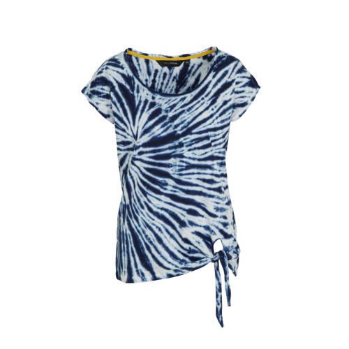 anytime katoenen top met tie-dye blauw