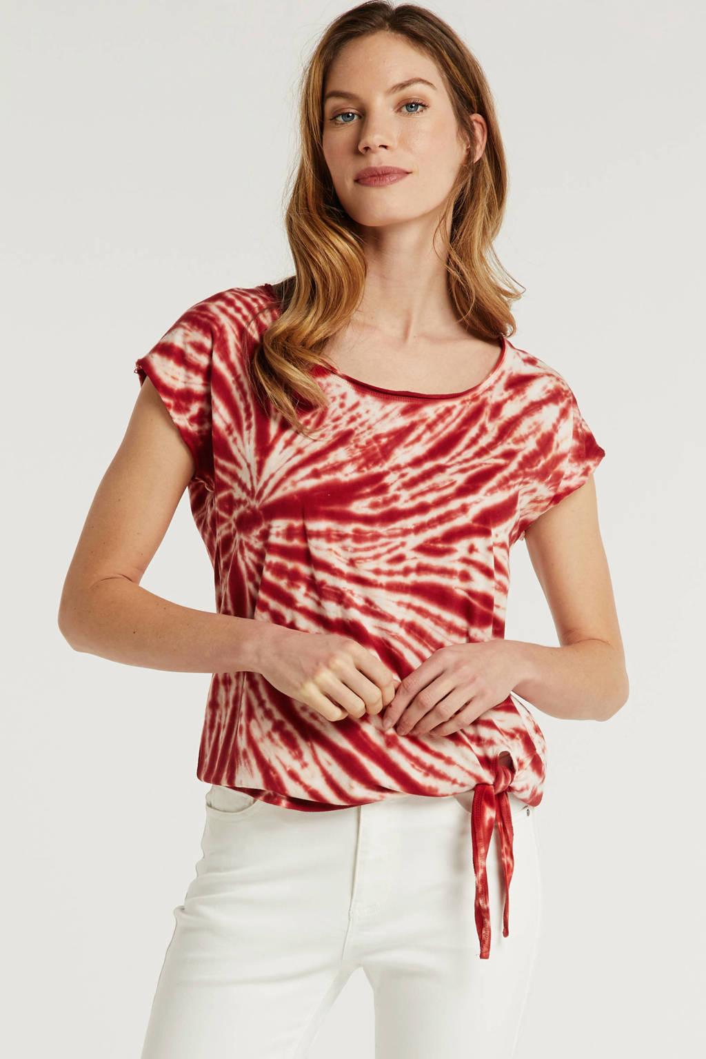 anytime katoenen top met tie-dye rood, Rood/ecru
