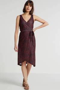 anytime wikkel-look jurk met zigzag print zwart/rood, Zwart/rood