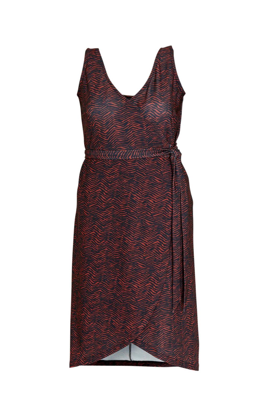 anytime wikkel-look jurk Plus size met zigzag print zwart/rood, Zwart/rood