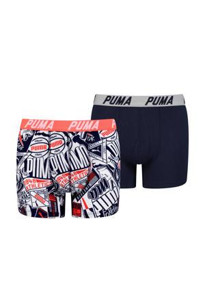 boxershort - set van 2 donkerblauw/wit/rood