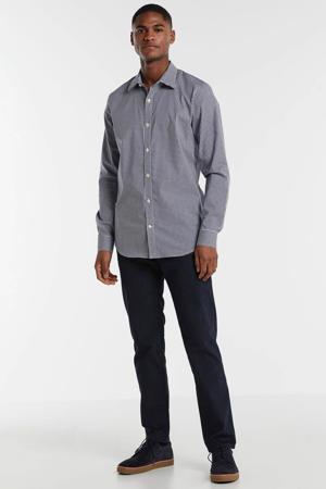 geruit slim fit overhemd marine/wit/antraciet
