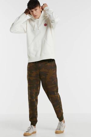 slim fit joggingbroek met camouflageprint donkergroen