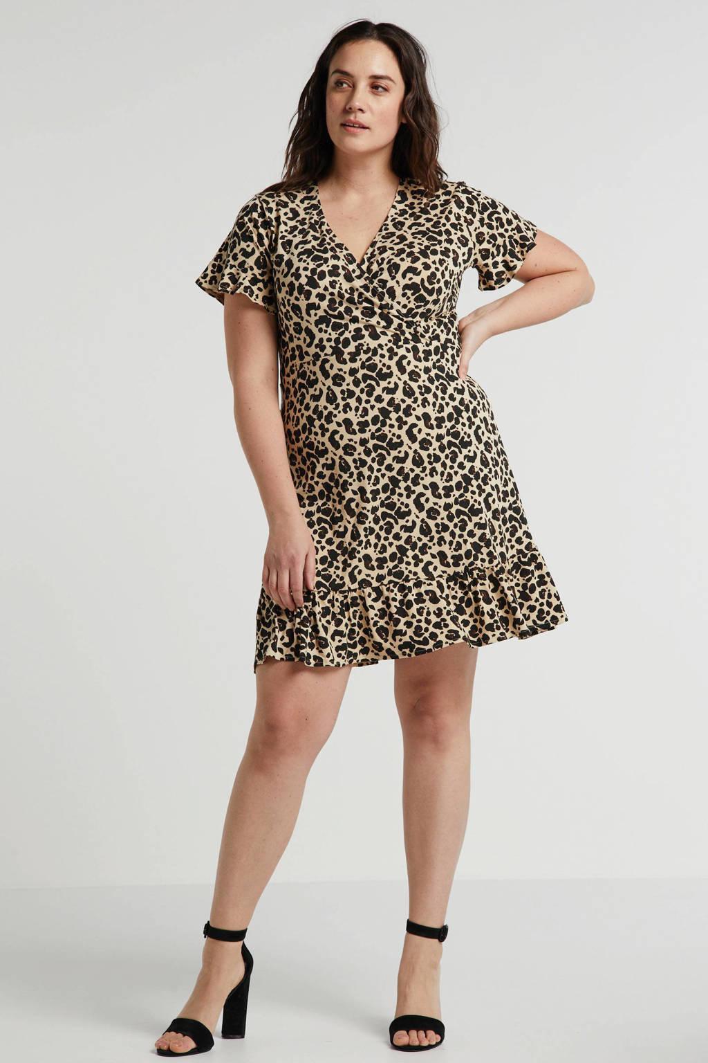 anytime jurk Plus size met ruches en panterprint beige/zwart, Beige/zwart