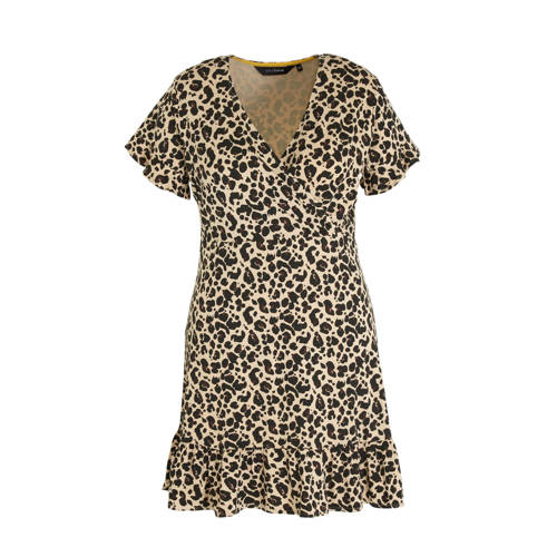 anytime jurk Plus size met ruches en panterprint b
