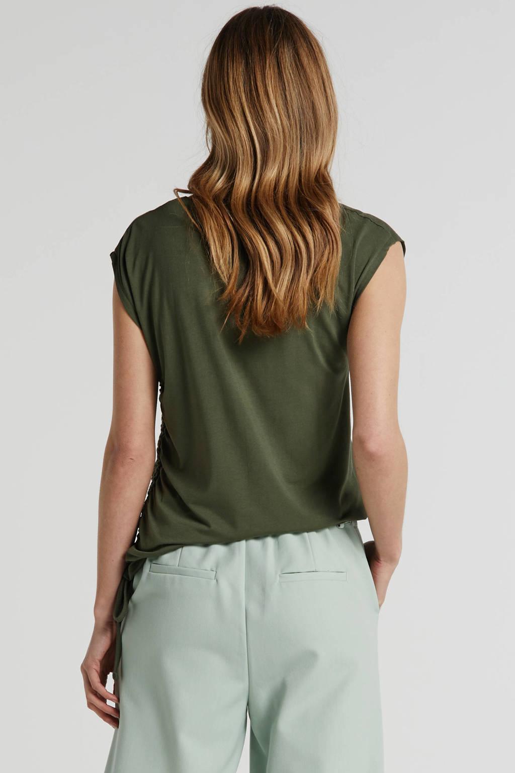 anytime top met rijg-detail groen, Groen