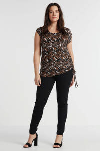 anytime top Plus size met rijg-detail all-over print zwart/bruin, Zwart/bruin/ecru