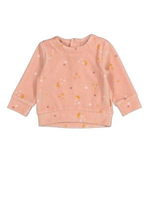 sweater met all over print roze