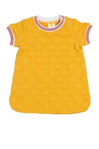 HEMA jersey jurk met textuur geel, Geel