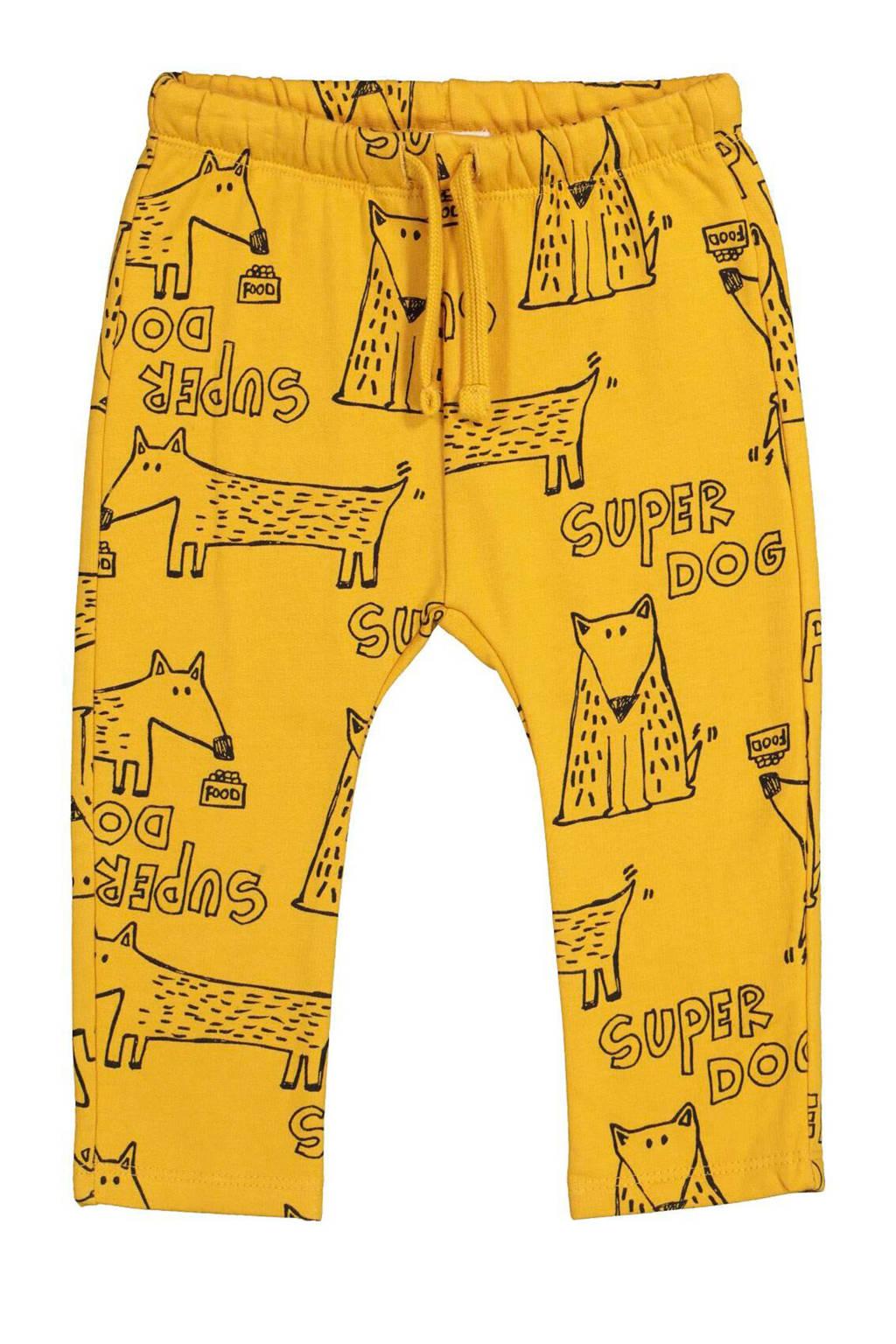 HEMA baby broek met all over print geel, Geel