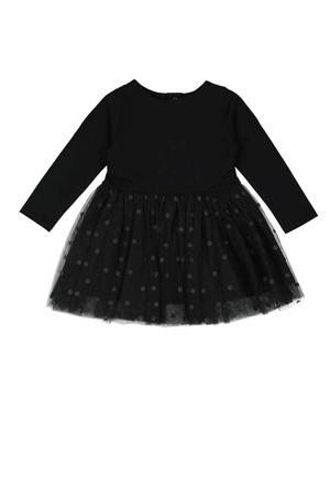 semi-transparante jersey jurk met stippen en mesh zwart