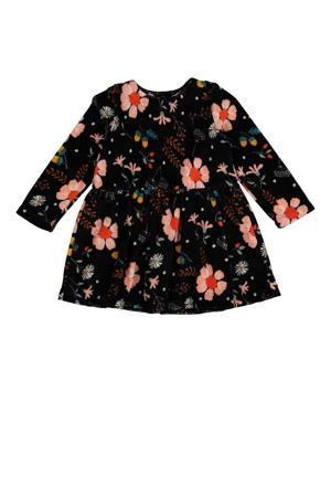 gebloemde velours jurk zwart