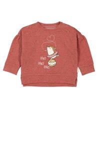 HEMA sweater met printopdruk en plooien donkerrood, Donkerrood