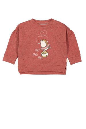 sweater met printopdruk en plooien donkerrood