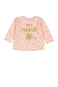 HEMA sweater met printopdruk en glitters oudroze, Oudroze