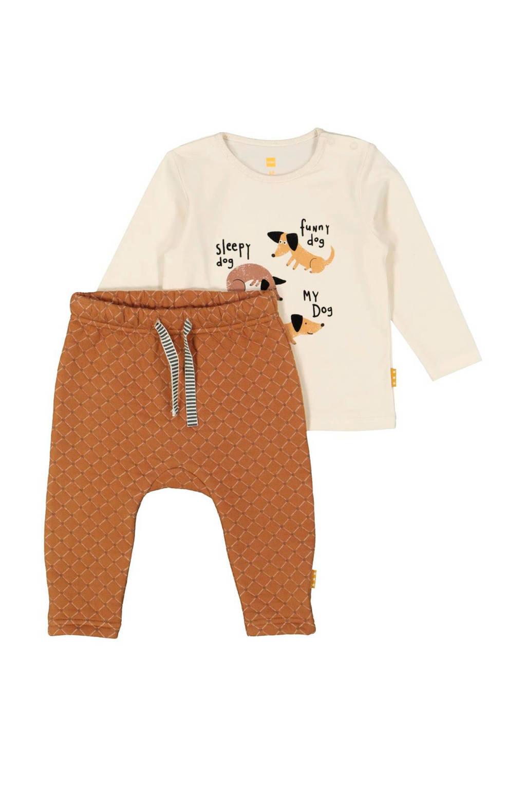 HEMA newborn baby broek + longsleeve bruin/ecru, Grijs