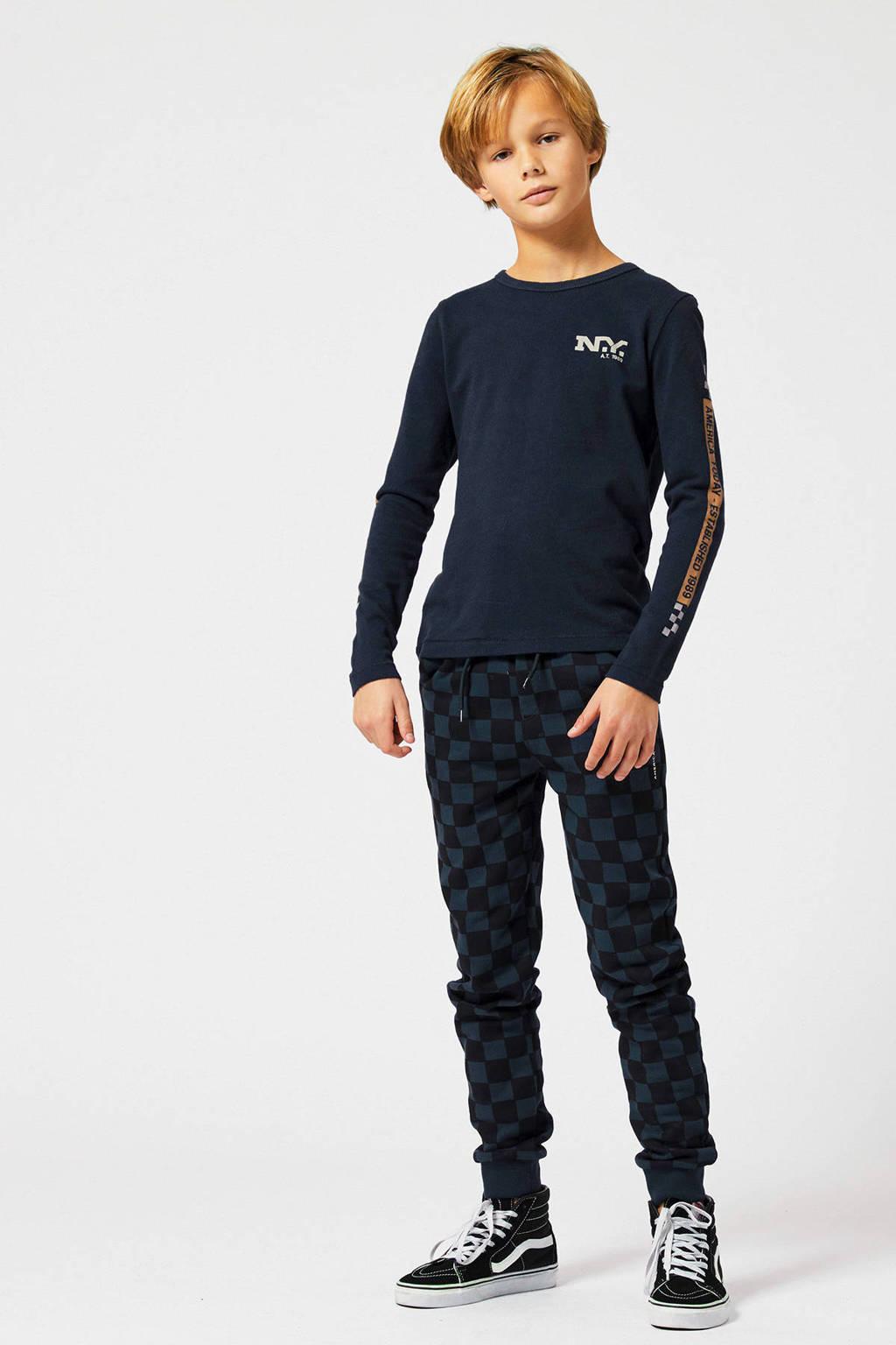 America Today Junior   geruite skinny joggingbroek Can zwart/donkerblauw, Zwart/donkerblauw