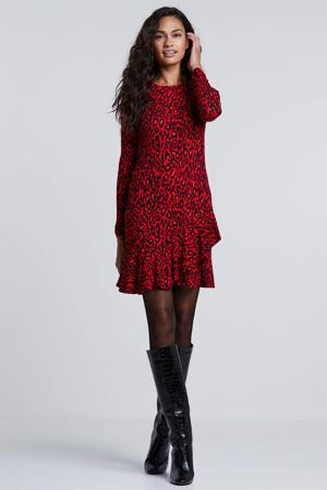 jersey jurk met panterprint en volant rood/zwart
