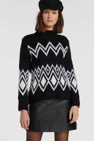 trui met all over print zwart/wit