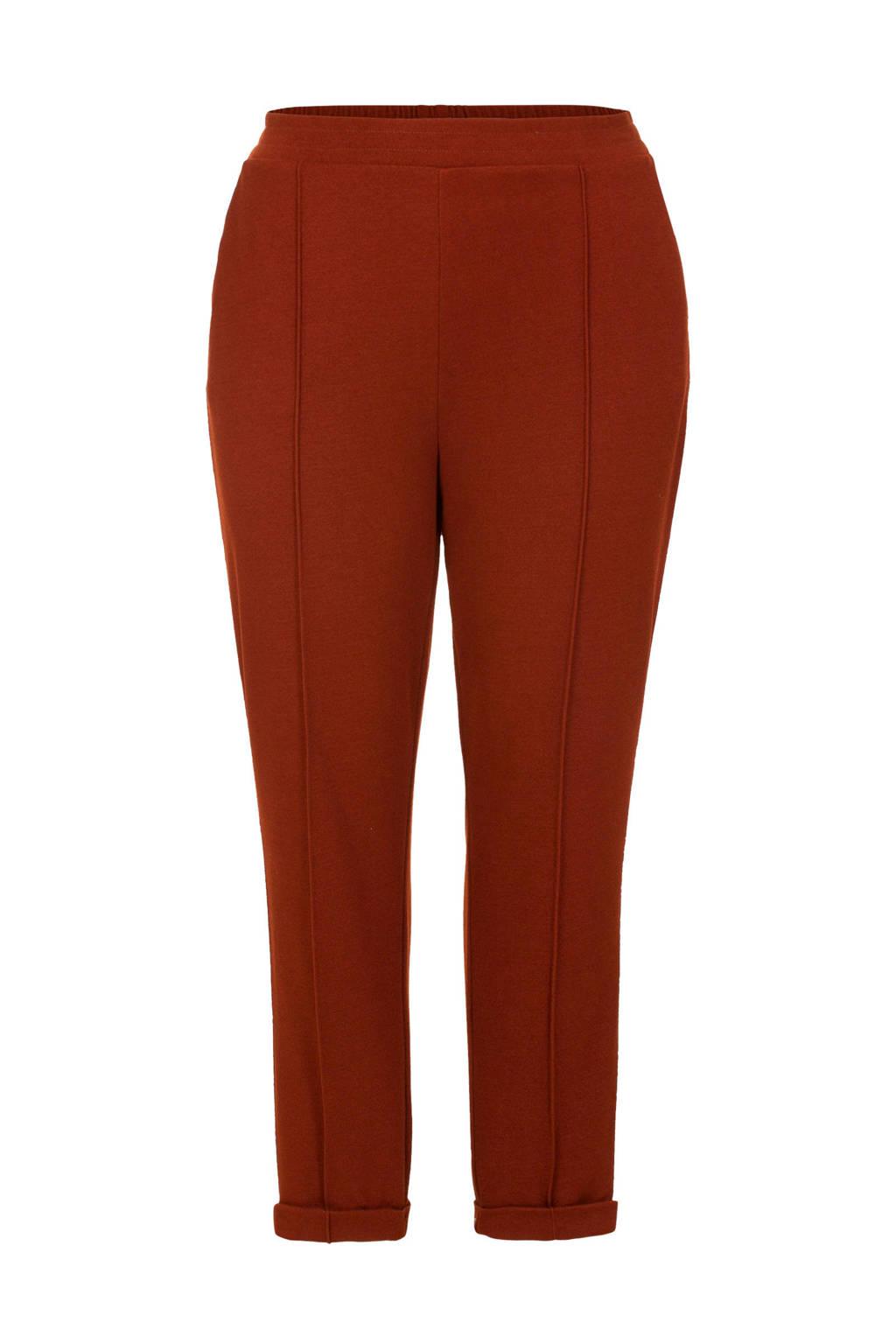 Miss Etam Plus slim fit broek met zijstreep bruin, Bruin