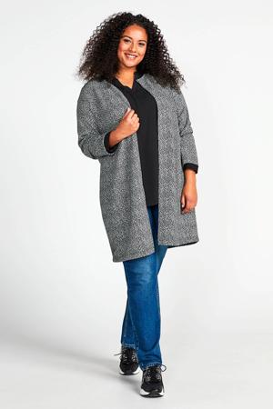 Plus vest met all over print zwart/ecru