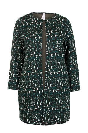 Plus vest met all over print zwart/groen/ecru