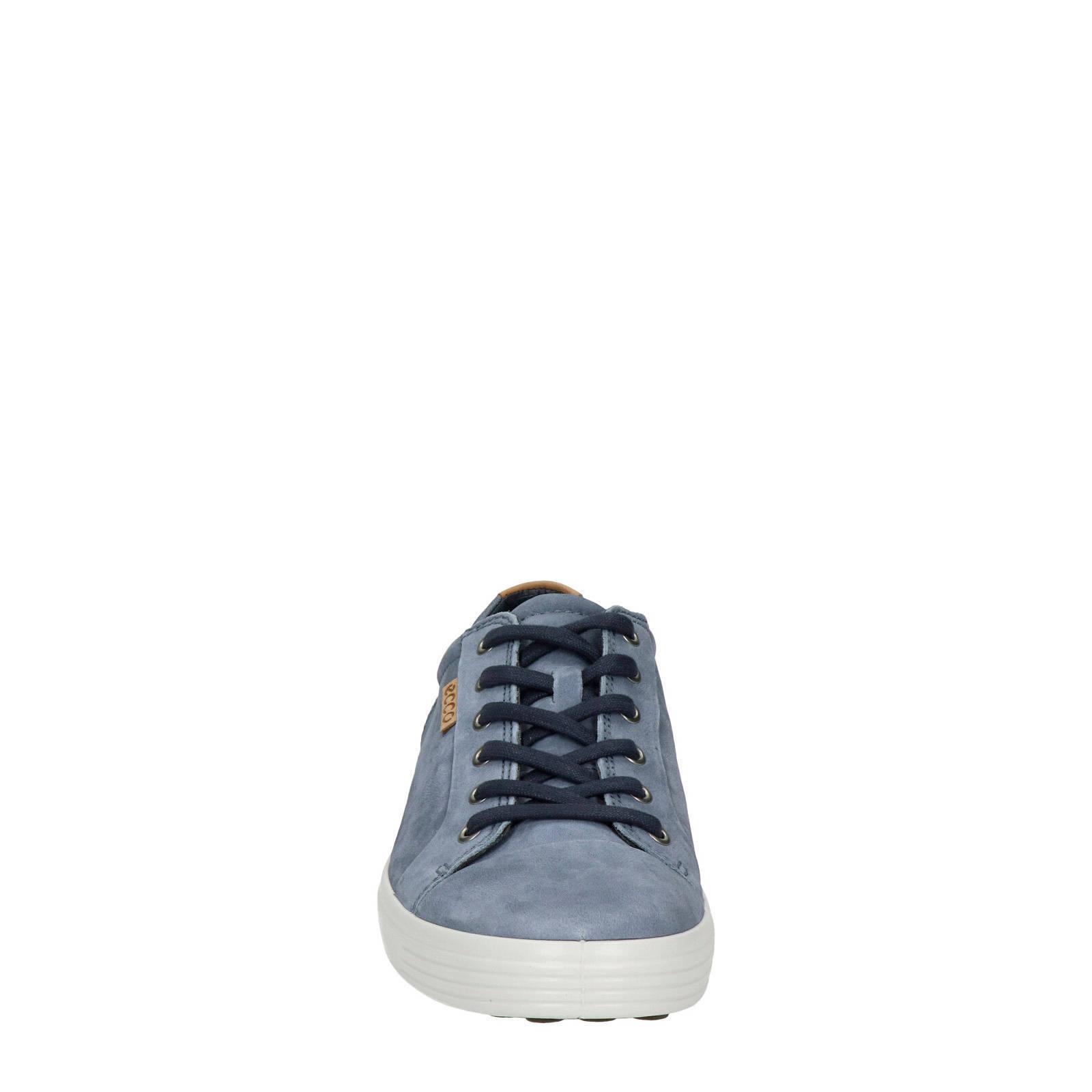 Ecco Soft 7 nubuck sneakers blauw | wehkamp