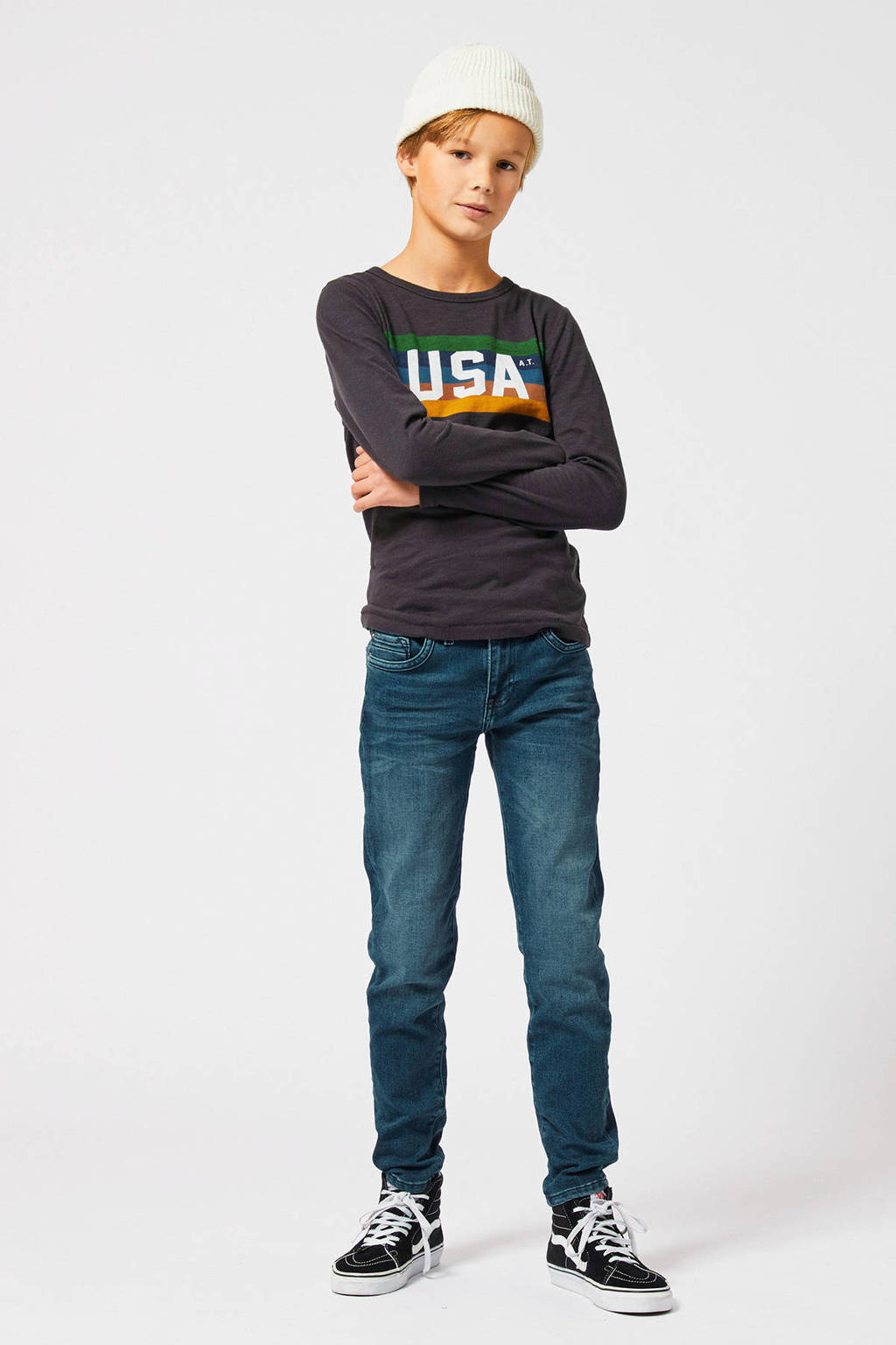 America Today Junior slim fit jeans Kyle blauw, middenblauw
