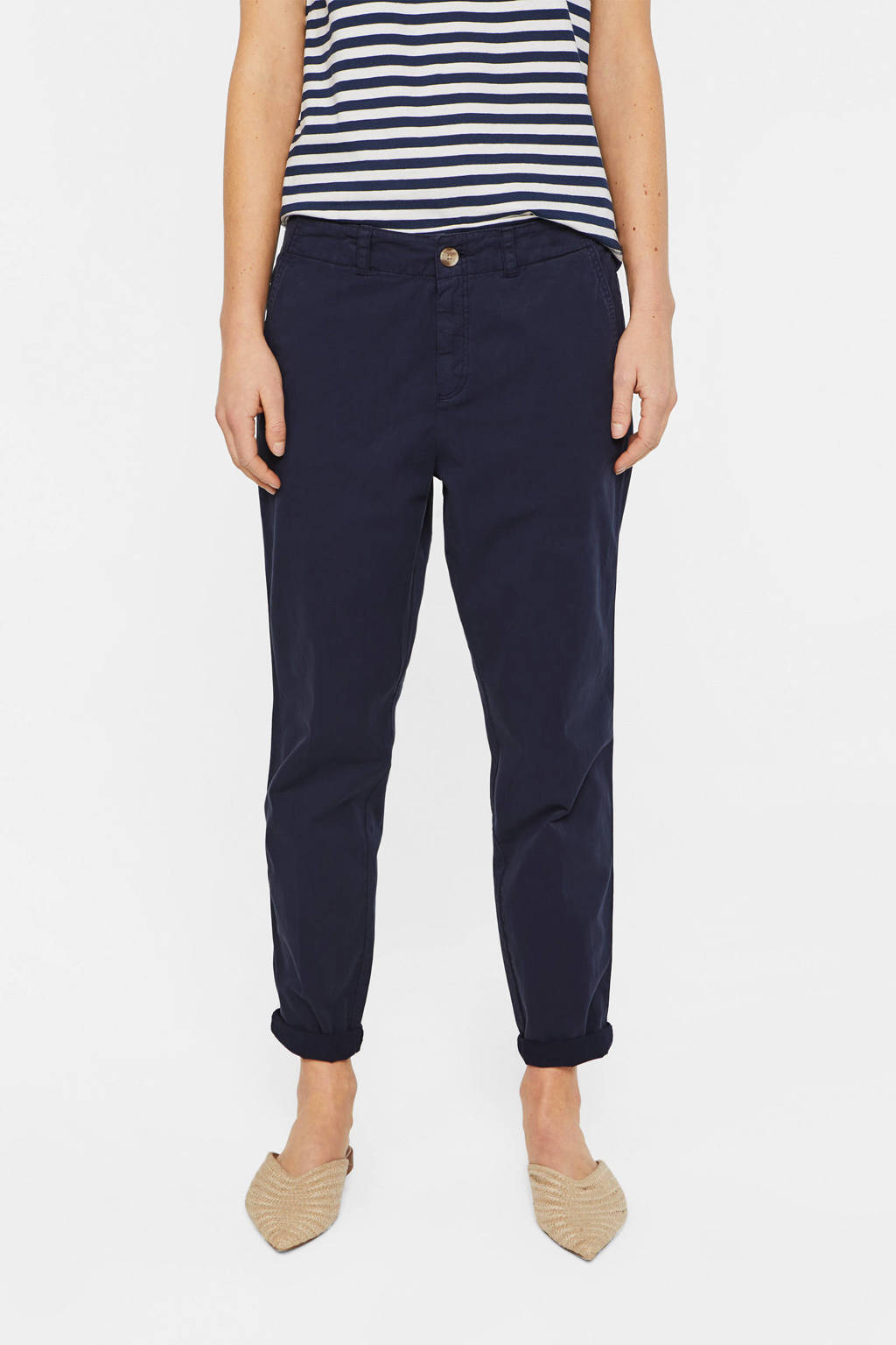 WE Fashion cropped straight fit broek donkerblauw, Donkerblauw