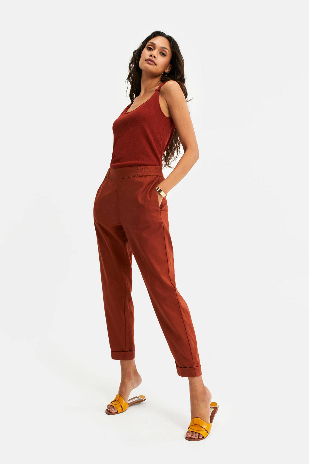 WE Fashion cropped tapered fit tregging roodbruin, Roodbruin