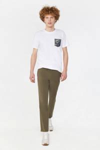 WE Fashion slim fit chino green army, Khaki
