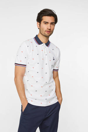 slim fit polo met all over print white uni