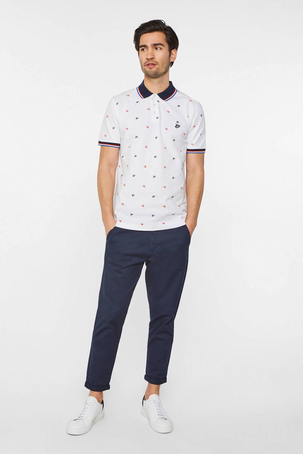 WE Fashion slim fit polo met all over print white uni, White Uni