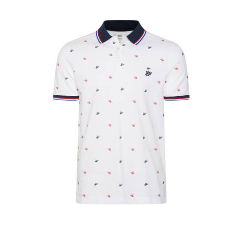 WE Fashion slim fit polo met all over print white