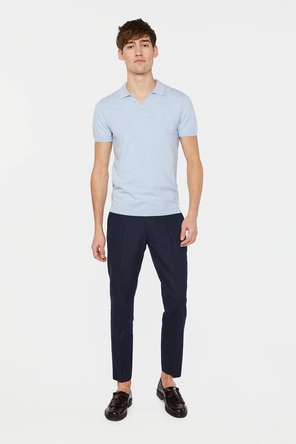 WE Fashion slim fit polo lichtblauw, Lichtblauw