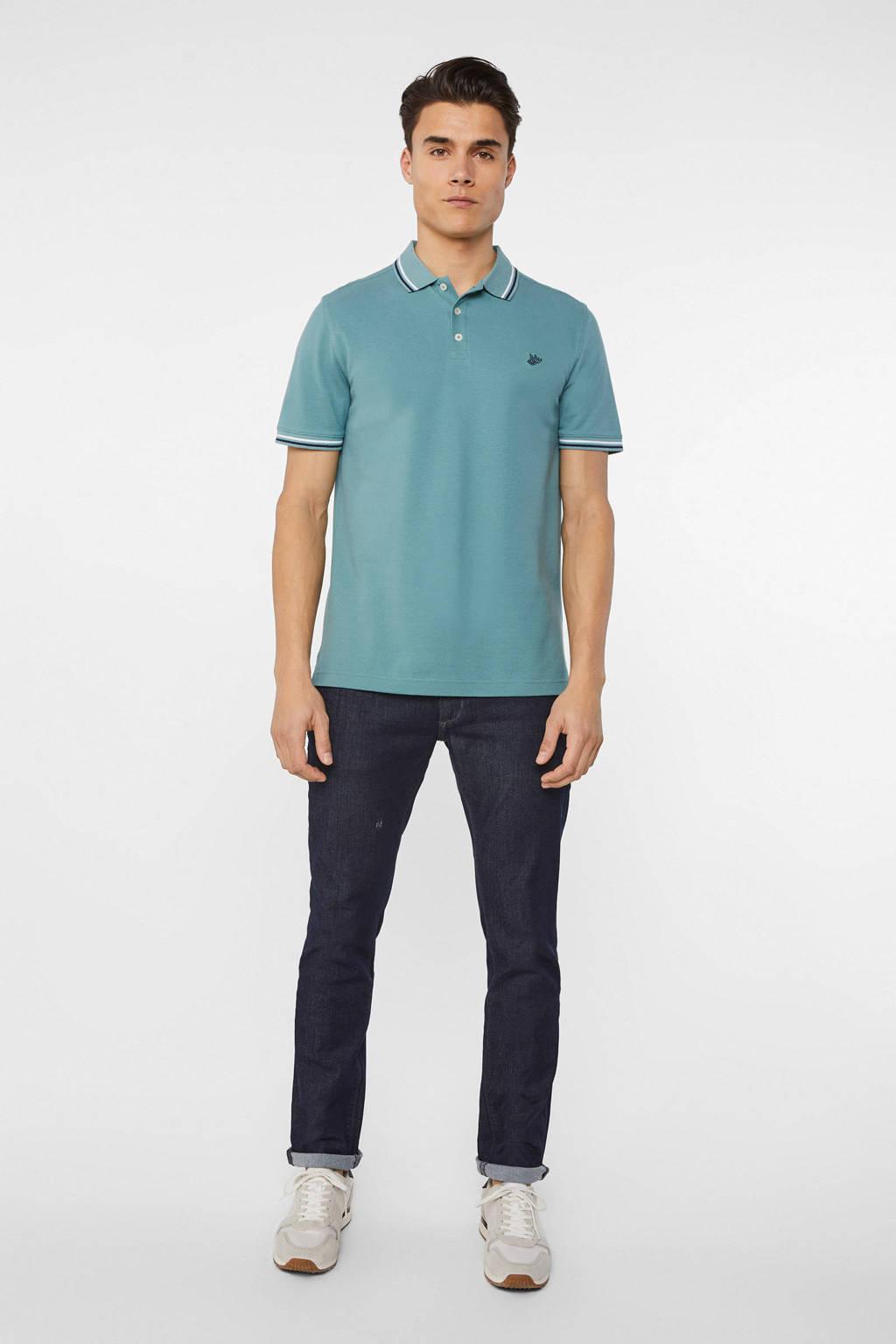 WE Fashion slim fit polo van biologisch katoen grey green, Grey Green