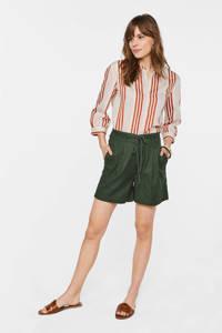WE Fashion high waist straight fit short donkergroen, Donkergroen